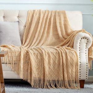 Tassel Knit Throw Cozy Fringe Patterned Blanket